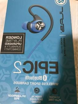 JLab Audio Epic2 Bluetooth 4.0 Wireless Sport Earbuds - Blue