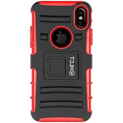 HLCT iPhone Xs/iPhone X Stand Case, Rugged Shock Proof Dual-