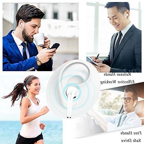 Bluetooth Headphones, Bluetooth Earbuds Case Mic Headset Sweat-Proof Compatible Devices