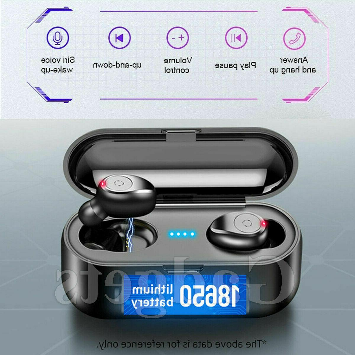 Bluetooth 5.0 TWS Wireless Earbuds Stereo Buds BLK