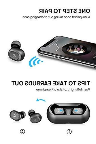 Dudios 5.0 Wireless Earbuds, Air True Wireless Headphone HiFi Sound Mini Headset -Black