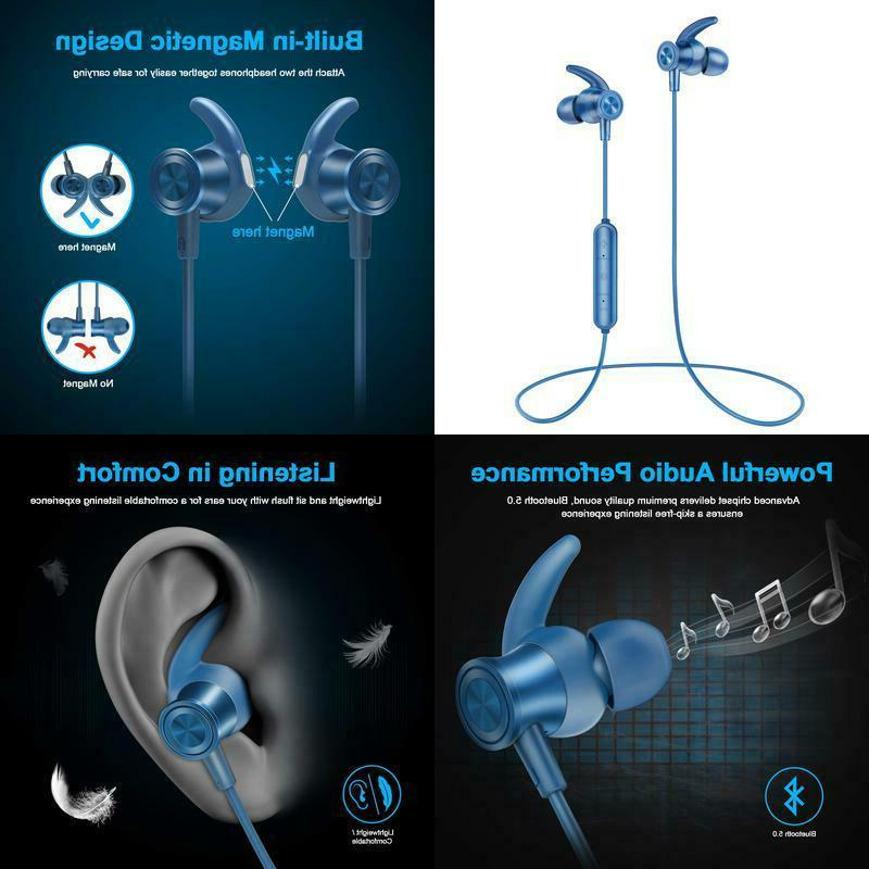 bluetooth headphones lightweight wireless earbuds with magne