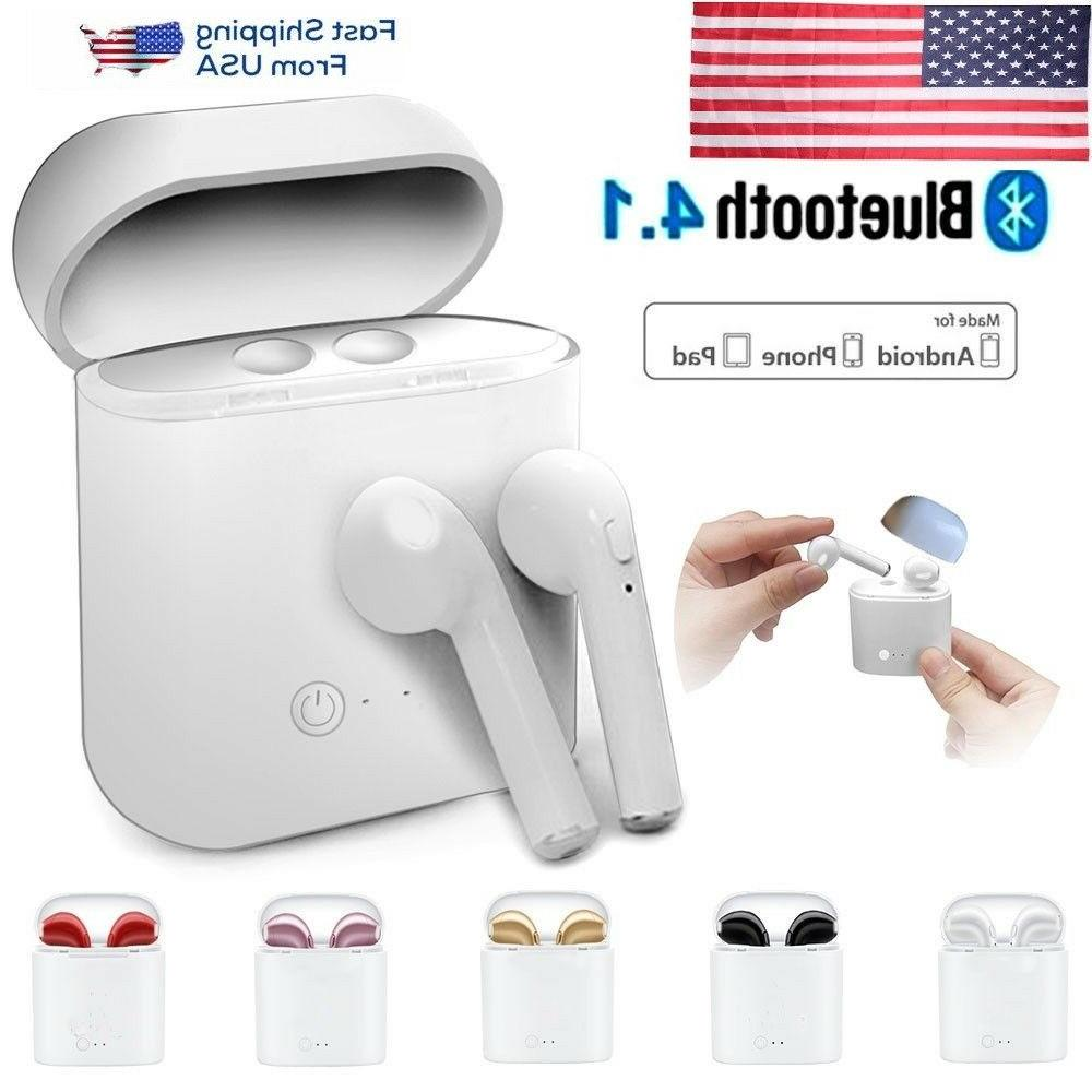 bluetooth wireless headset earbuds w charger box