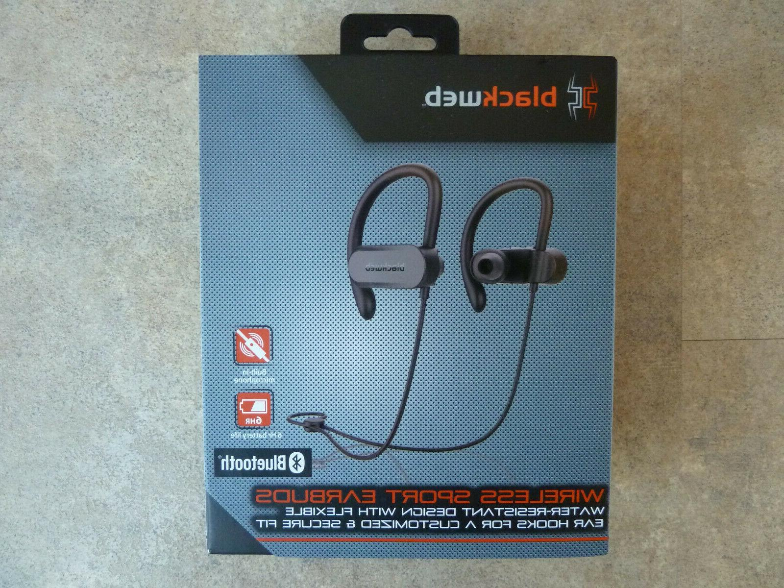 Blackweb Bluetooth Wireless Water Resistant Sport Earbuds With