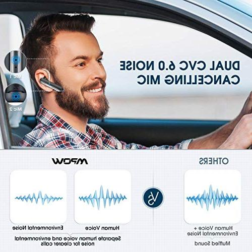 Mpow 16-Hrs Playtime Noise Mic, V4.2 Bluetooth Earpiece, Headset for