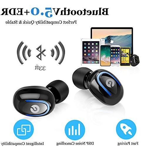 Wireless Earbuds, Headphones True Stereo Invisible Sweatproof Earphones with Case with iPhone Samsung Android