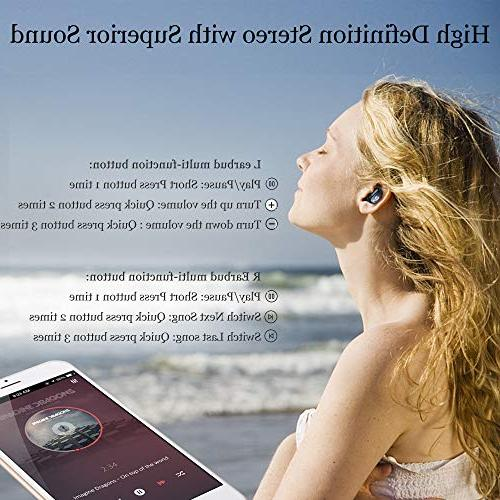 Headphones 5.0 True Stereo Headset Built-in Invisible Ear Sweatproof with Case Compatible iPhone Samsung Android