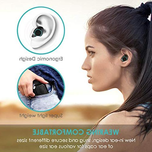 Wireless TWS Bluetooth 5.0 Stereo Hi-Fi IPX7 Earbuds with 3000mAh Charging Case, Noise Cancelling Wireless Headphones