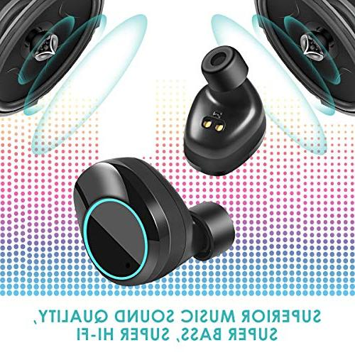 Wireless Touch Control TWS Hi-Fi Sound IPX7 Waterproof Earbuds with Case, Headphones