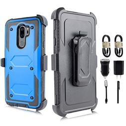 LG G7 Case, LG G7 ThinQ Case, Full-Body Rugged Holster Case