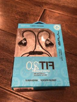 NEW JLAB FIt 2.0 Sport Earbuds Sweat-Proof Washable Mic & Tr